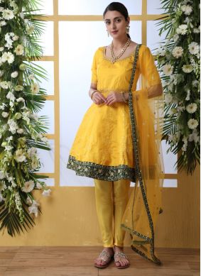 Art Silk Mustard and Yellow Salwar Suit
