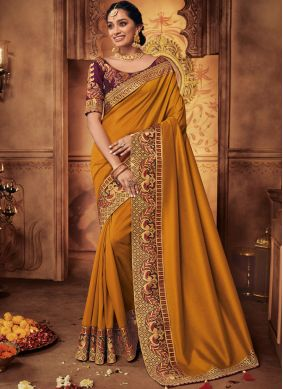 Art Silk Mustard Patch Border Designer Traditional Saree