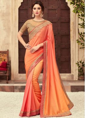 Art Silk Orange Shaded Saree