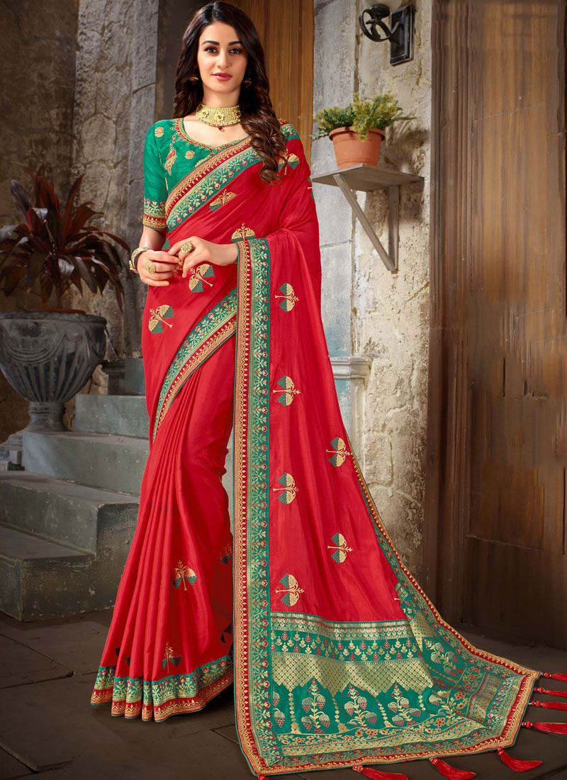 Art Silk Patch Border Designer Traditional Saree in Red