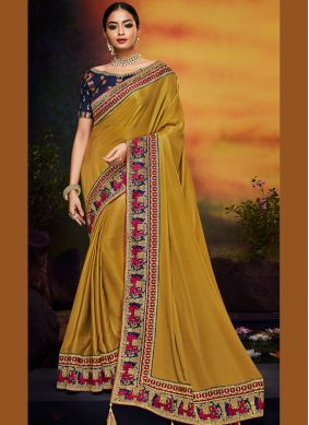 Art Silk Patch Border Traditional Saree in Mustard