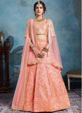 Art Silk Peach Trendy Designer Lehenga Choli