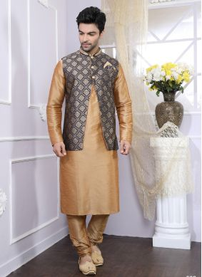 Art Silk Plain Kurta Payjama With Jacket in Beige