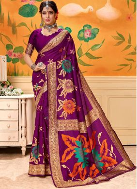 Art Silk Printed Wine Designer Traditional Saree