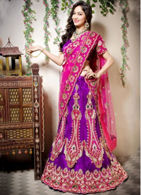 Art Silk Purple Designer Lehenga Choli