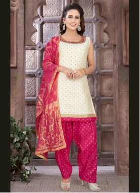 Art Silk Readymade Suit in Off White