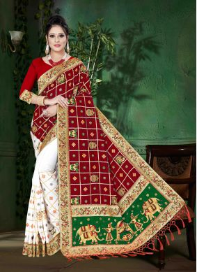 Art Silk Red and White Embroidered Designer Half N Half Saree