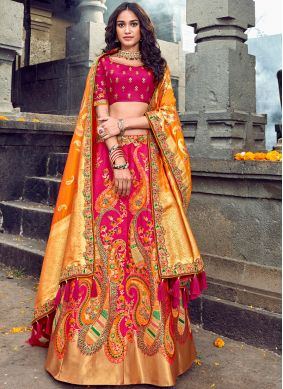Art Silk Red Embroidered Designer Lehenga Choli