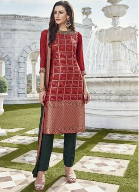 Art Silk Red Readymade Suit