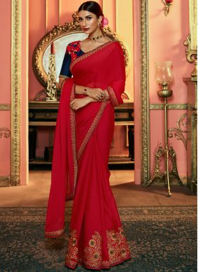 Art Silk Red Silk Saree