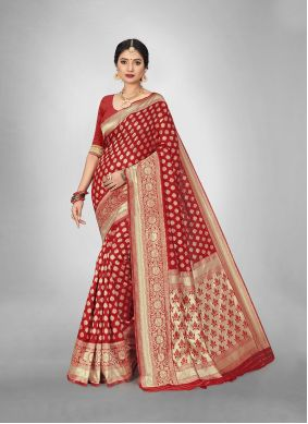 Art Silk Red Trendy Saree