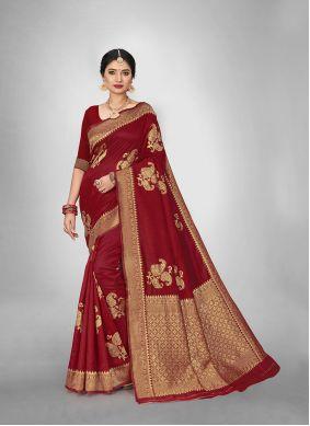 Art Silk Red Weaving Silk Saree