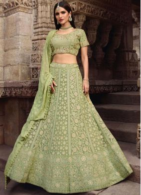 Art Silk Sea Green Resham Lehenga Choli