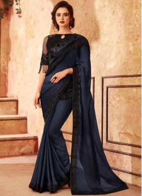 Art Silk Shaded Saree in Black and Blue