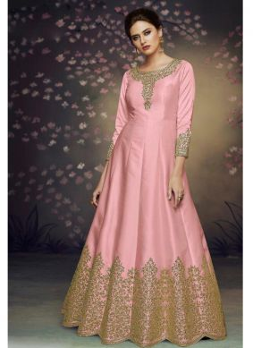 Art Silk Thread Salwar Suit in Pink