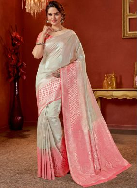 Art Silk Traditional Designer Saree in Grey