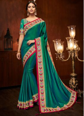 Art Silk Traditional Designer Saree in Sea Green
