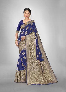 Art Silk Trendy Saree in Navy Blue