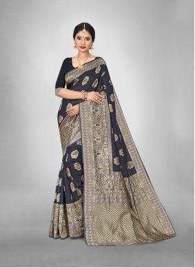 Art Silk Weaving Black Trendy Saree