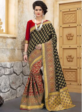 Art Silk Weaving Designer Half N Half Saree in Black and Red