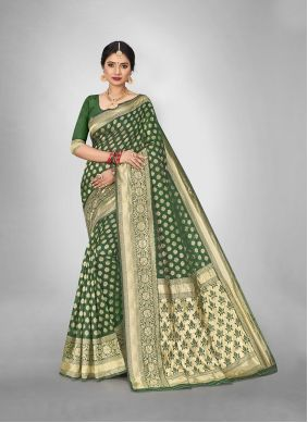 Art Silk Weaving Green Trendy Saree