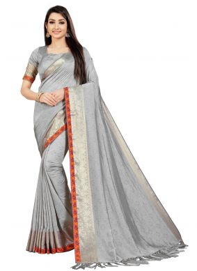 Art Silk Weaving Grey Classic Saree