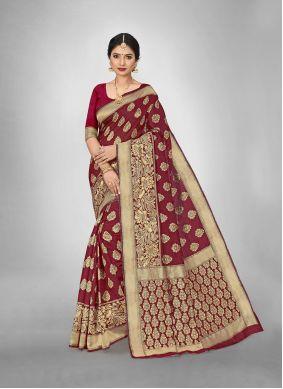Maroon Art Silk Weaving Work Saree