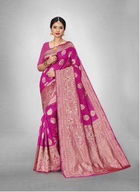 Hot Pink Art Silk Weaving Trendy Saree