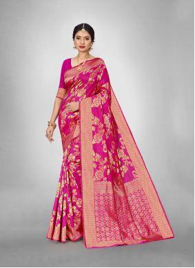 Art Silk Weaving Trendy Saree in Hot Pink