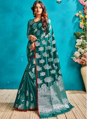 Art Silk Woven Green Traditional Saree