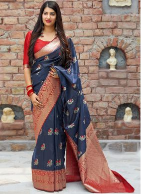 Art Silk Woven Traditional Designer Saree in Blue