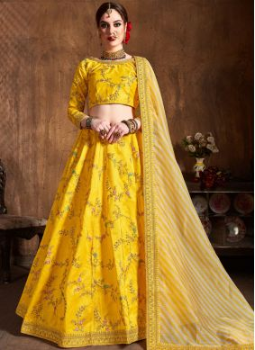 Art Silk Yellow Lace Lehenga Choli