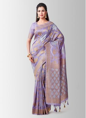 Art Silk Zari Designer Traditional Saree in Lavender