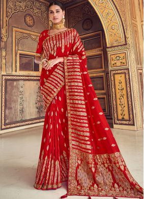 Art Silk Zari Red Traditional Designer Saree