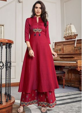 Artistic Cotton Embroidered Red Party Wear Kurti
