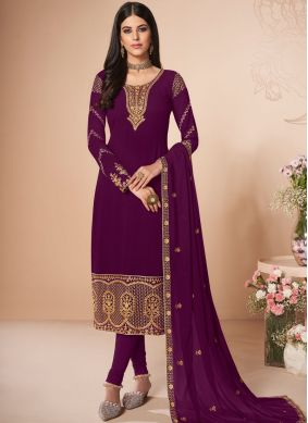 Artistic Embroidered Georgette Magenta Salwar Suit