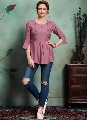 Aspiring Embroidered Lavender Party Wear Kurti