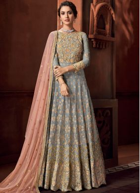 Astonishing Embroidered Grey Anarkali Salwar Kameez