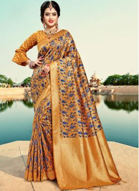 Astonishing Mustard Party Classic Saree