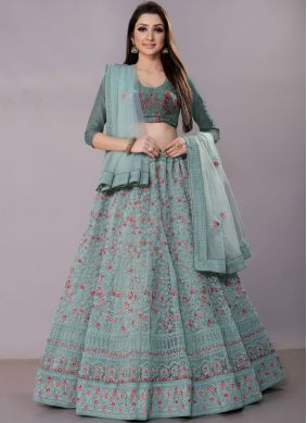 Astonishing Net Blue Embroidered Lehenga Choli