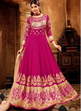 Astonishing Zari Georgette Hot Pink Anarkali Salwar Suit