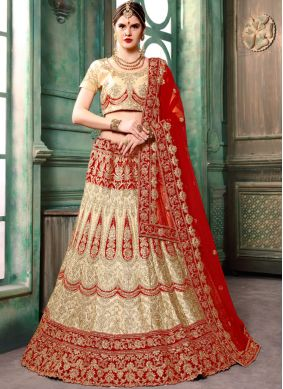 Astounding Art Silk Cream Zari Lehenga Choli