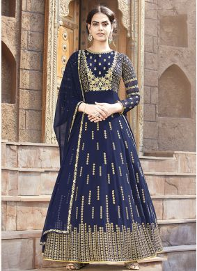 Astounding Blue Ceremonial Floor Length Anarkali Suit