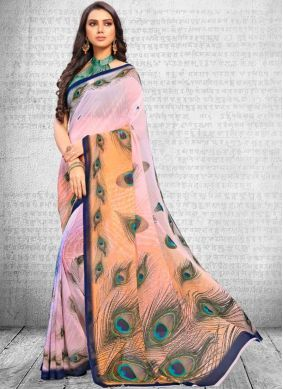 Astounding Faux Georgette Multi Colour Abstract Print Printed Saree