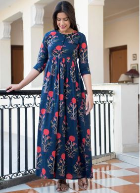 Attractive Abstract Print Blue Party Wear Kurti