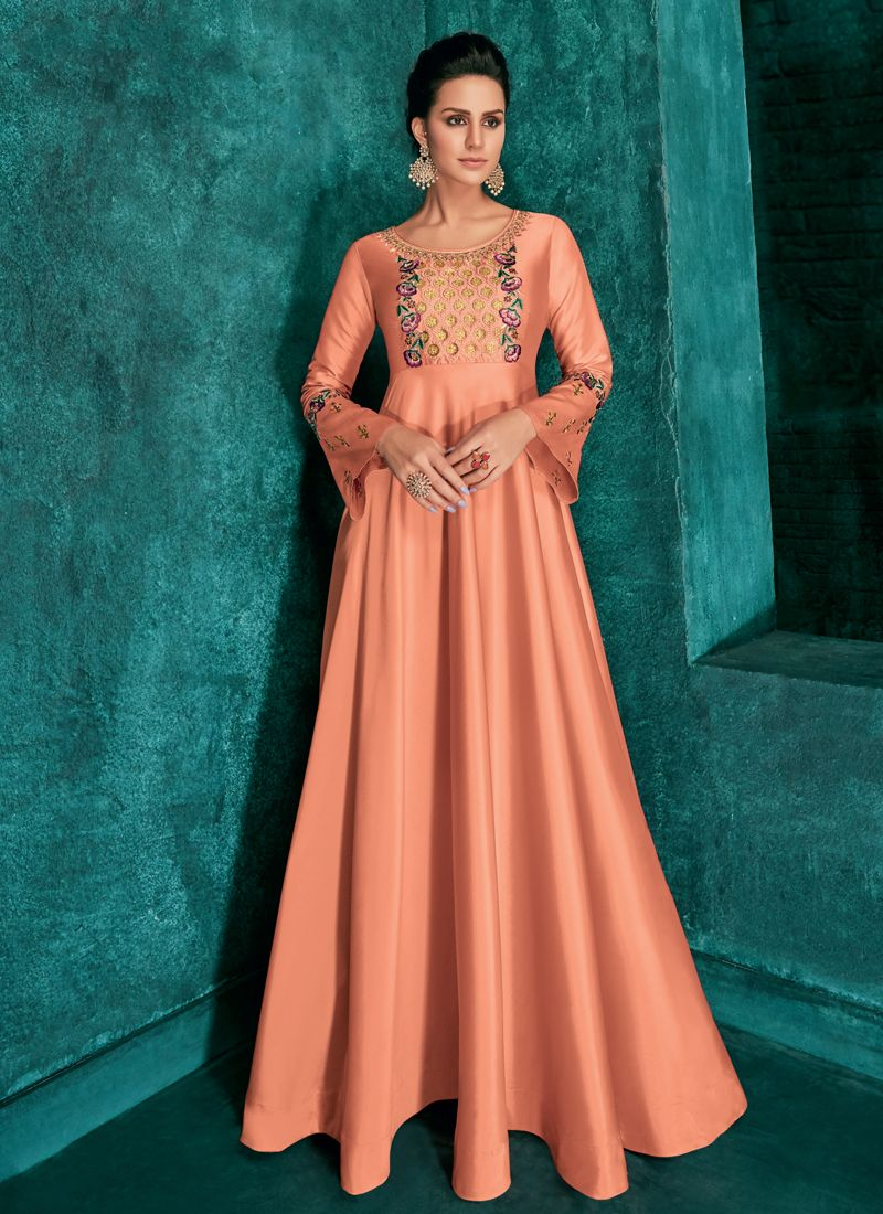 Attractive Embroidered Art Silk Peach Readymade Gown