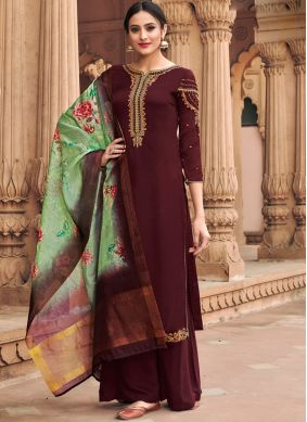 Attractive Embroidered Brown Faux Georgette Designer Palazzo Suit