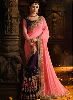 Attractive Embroidered Pink Half N Half  Saree