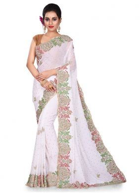 Auspicious Embroidered White Designer Traditional Saree