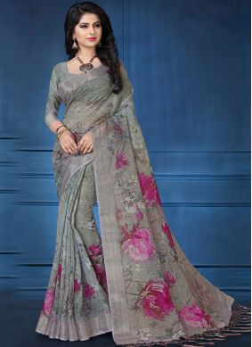 Awesome Abstract Print Multi Colour Printed Saree